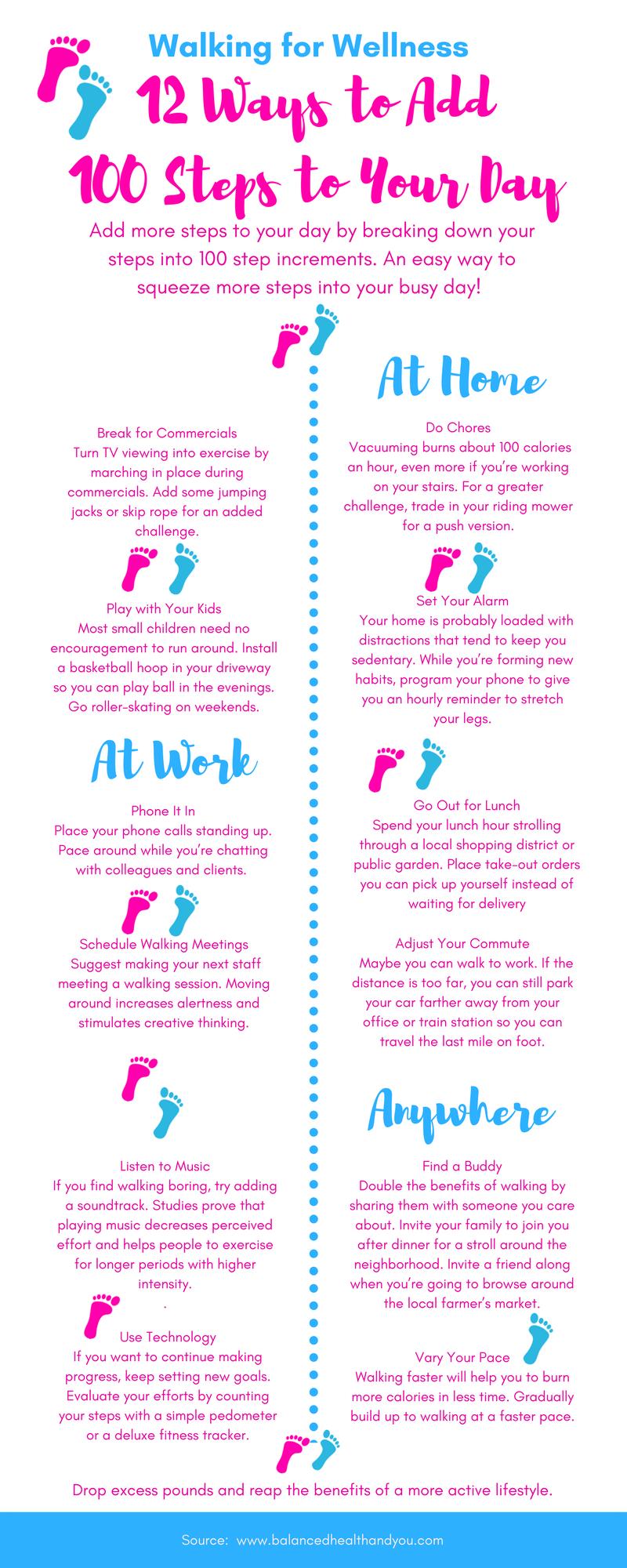 12 Ways to Add 100 Steps to Your Day at www.balancedhealthandyou.com