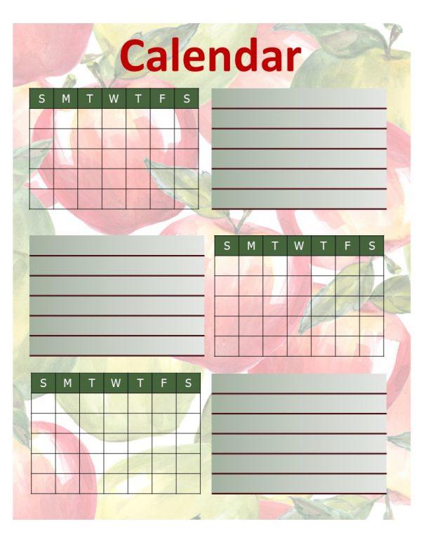 Apple Recipe Planner Calendar
